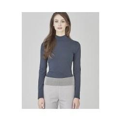 Tee-shirt col cheminée bleu graphite