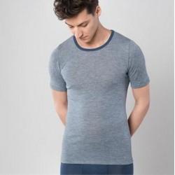 Chemise homme manches courtes laine et soie