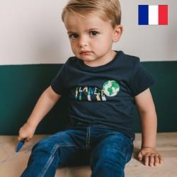 "AJ_Tee-shirt Paul ""Planête"" marine"