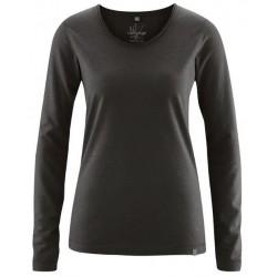 AJ_Tee-shirt ML col roulotté chanvre et coton bio noi