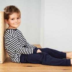 AJ_Pyjama enfant 100% coton bio rayé marine