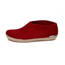 Chaussons adultes laine rouges