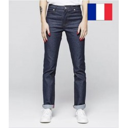 Jeans femme droit indigo brut