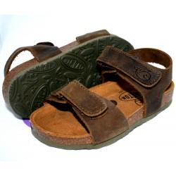 Sandales à scratch brun kaki